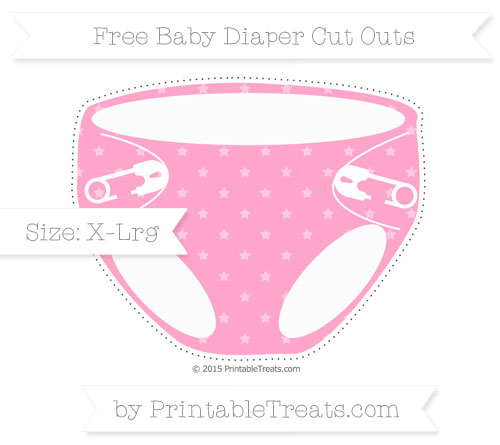 Carnation pink star pattern extra large baby diaper cut for Diaper cut out template