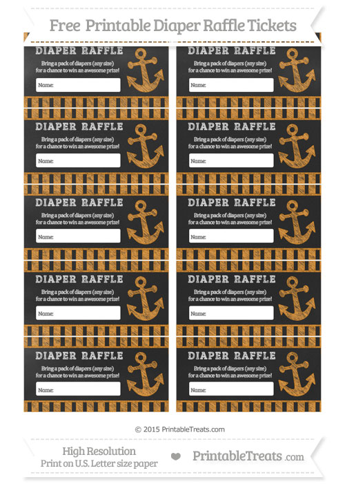 Free Carrot Orange Striped Chalk Style Nautical Diaper Raffle Tickets