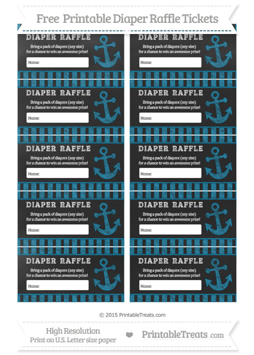 Free Cerulean Blue Striped Chalk Style Nautical Diaper Raffle Tickets
