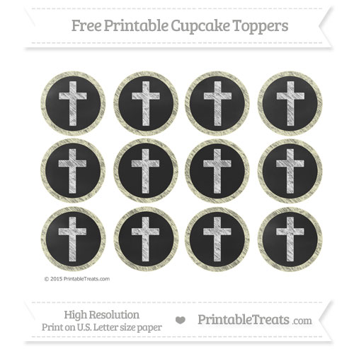 Free Cream Chalk Style Cross Cupcake Toppers