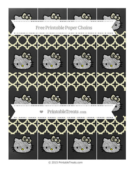 Free Cream Quatrefoil Pattern Chalk Style Hello Kitty Paper Chains