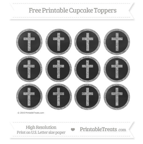 Free Cross Cupcake Toppers with Pastel Light Grey Chalk