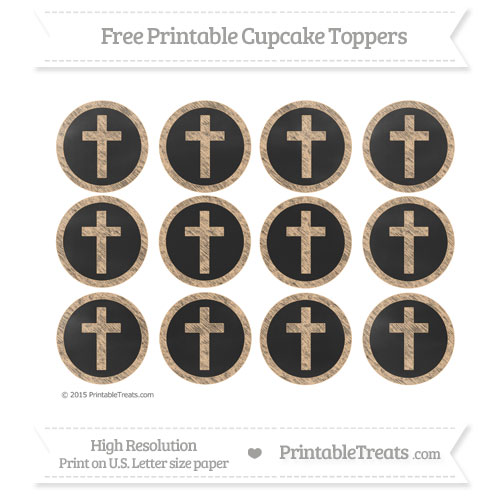 Free Cross Cupcake Toppers with Pastel Light Orange Chalk