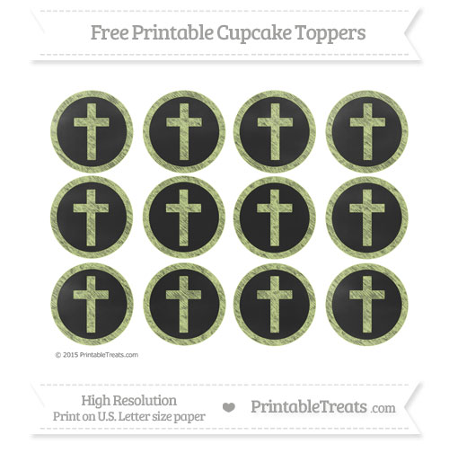 Free Cross Cupcake Toppers with Pastel Lime Green Chalk