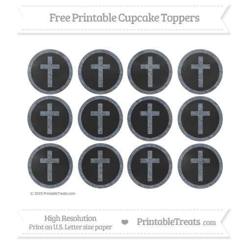 Free Cross Cupcake Toppers with Slate Grey Chalk