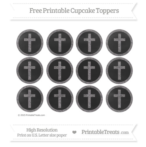 Free Cross Cupcake Toppers with Taupe Grey Chalk