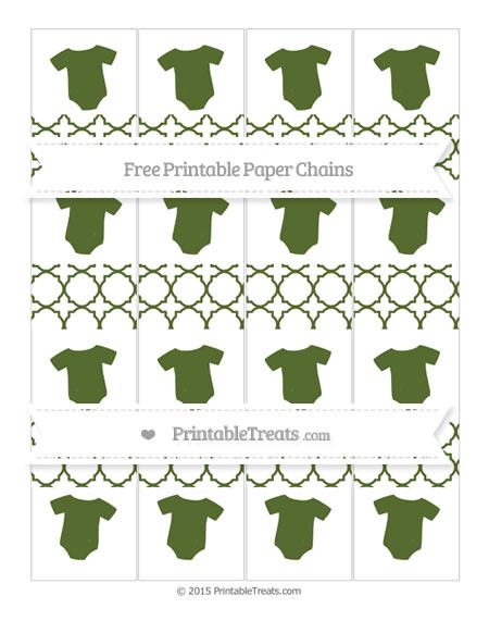 Free Dark Olive Green Quatrefoil Pattern Baby Onesie Paper Chains