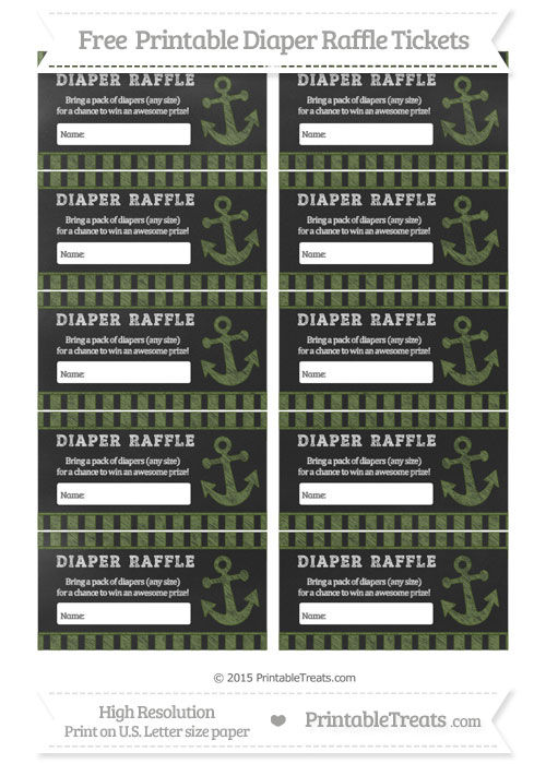 Free Dark Olive Green Striped Chalk Style Nautical Diaper Raffle Tickets