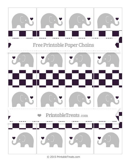 Free Dark Purple Checker Pattern Baby Elephant Paper Chains