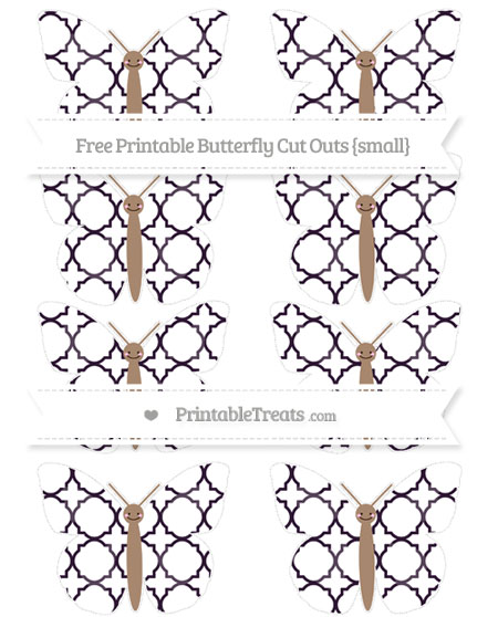 Free Dark Purple Quatrefoil Pattern Small Smiley Butterfly Cut Outs