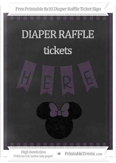 Free Dark Purple Striped Chalk Style Minnie Mouse 8x10 Diaper Raffle Ticket Sign