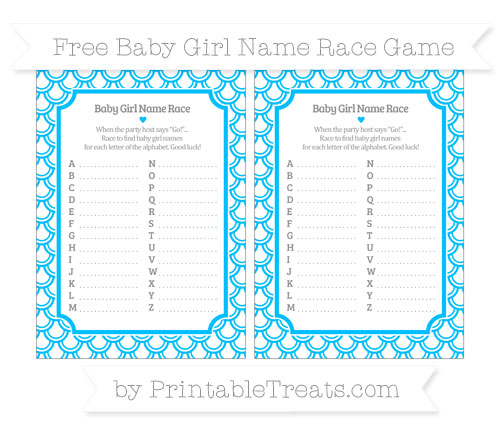deep sky blue fish scale pattern baby girl name race game