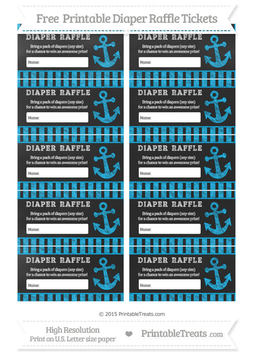 Free Deep Sky Blue Striped Chalk Style Nautical Diaper Raffle Tickets