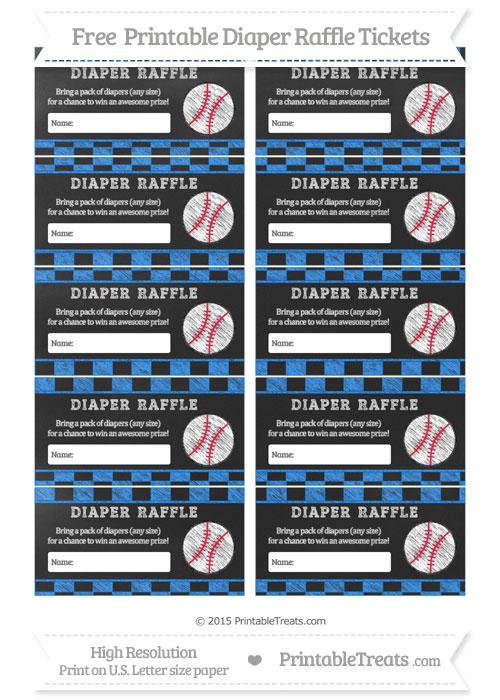 dodger blue checker pattern chalk style baseball diaper raffle  printable treatscom