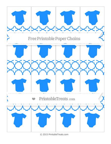Free Dodger Blue Quatrefoil Pattern Baby Onesie Paper Chains