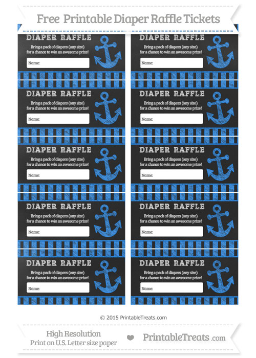 Free Dodger Blue Striped Chalk Style Nautical Diaper Raffle Tickets