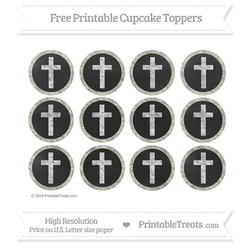 Free Eggshell Chalk Style Cross Cupcake Toppers