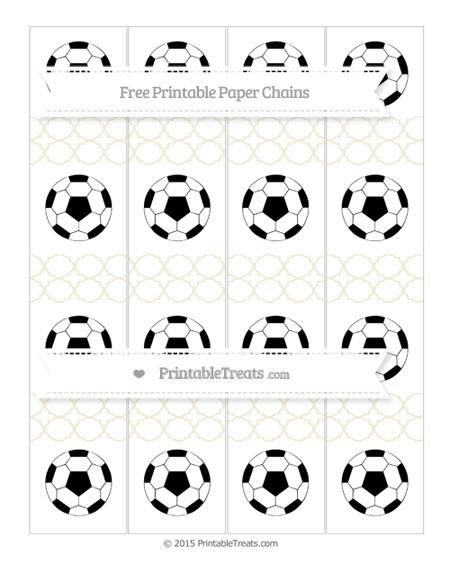 Free Eggshell Quatrefoil Pattern Soccer Paper Chains