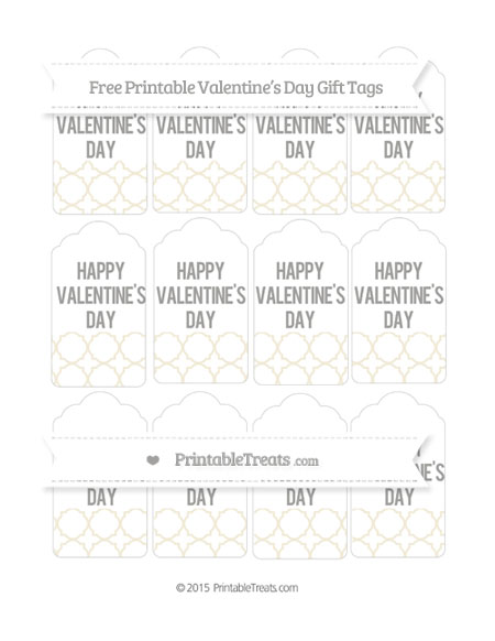 Free Eggshell Quatrefoil Pattern Valentine's Day Gift Tags