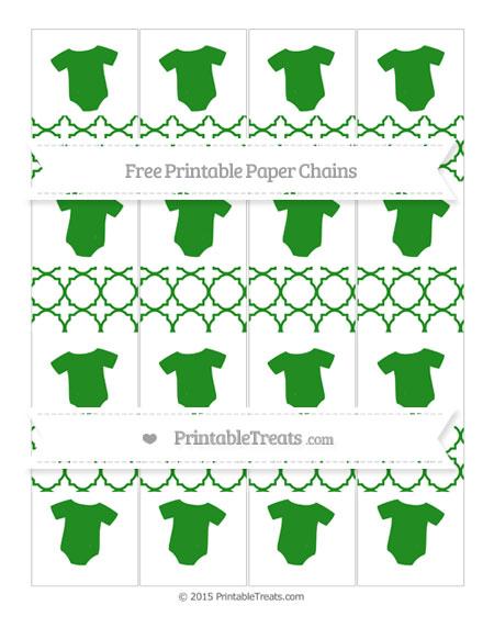 Free Forest Green Quatrefoil Pattern Baby Onesie Paper Chains