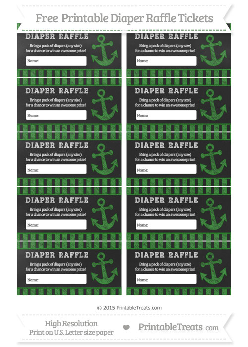 Free Forest Green Striped Chalk Style Nautical Diaper Raffle Tickets