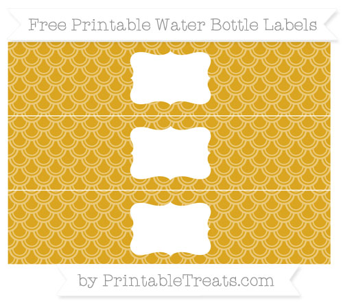 Gold Fish Scale Pattern DIY Water Bottle Labels ...
