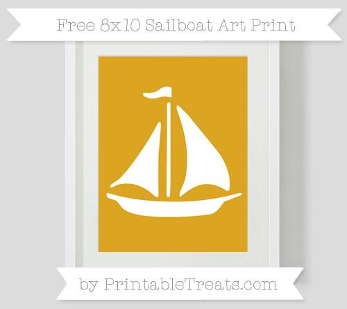 Free Gold Sailboat 8x10 Art Print