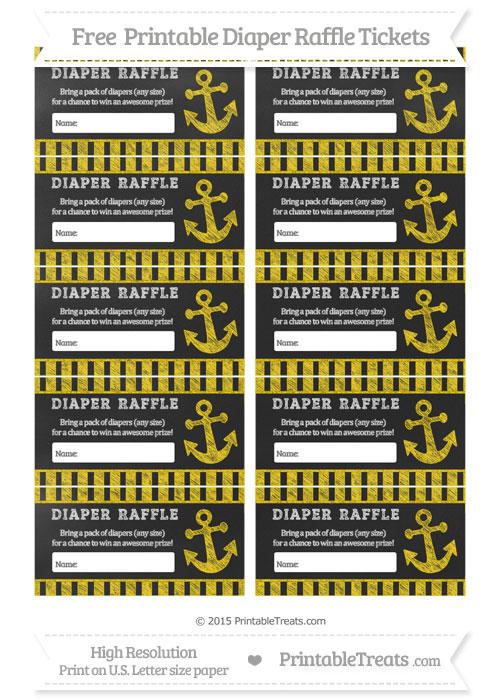 Free Gold Striped Chalk Style Nautical Diaper Raffle Tickets