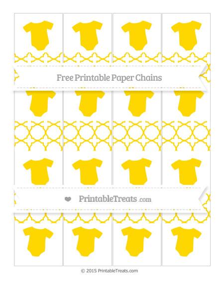 Free Goldenrod Quatrefoil Pattern Baby Onesie Paper Chains