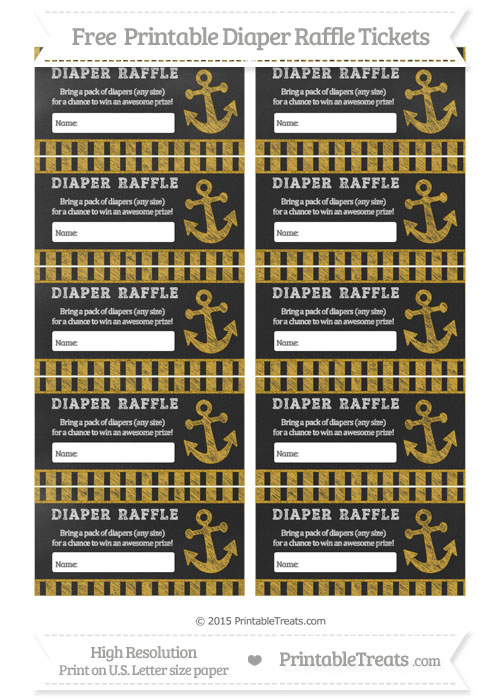 Free Goldenrod Striped Chalk Style Nautical Diaper Raffle Tickets