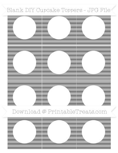 Free Grey Horizontal Striped Blank DIY Cupcake Toppers