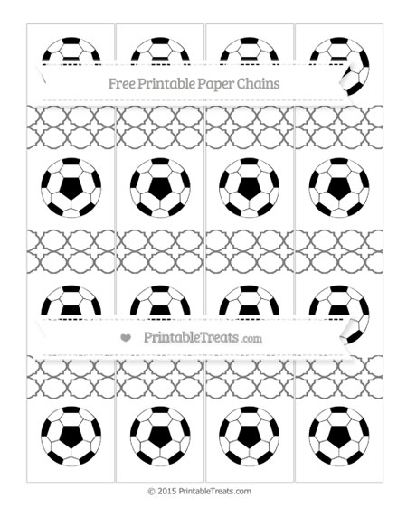 Free Grey Quatrefoil Pattern Soccer Paper Chains