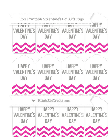 Free Hot Pink Chevron Valentine\'s Day Gift Tags — Printable Treats.com