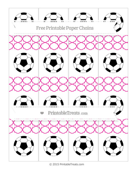 Free Hot Pink Quatrefoil Pattern Soccer Paper Chains