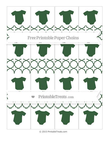 Free Hunter Green Quatrefoil Pattern Baby Onesie Paper Chains