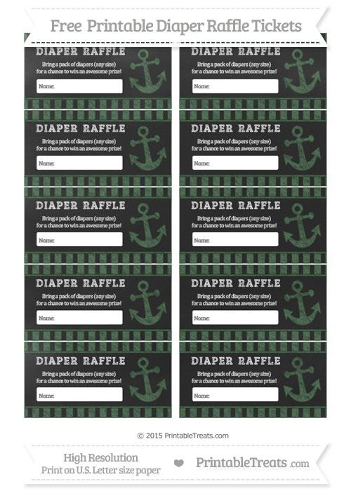Free Hunter Green Striped Chalk Style Nautical Diaper Raffle Tickets