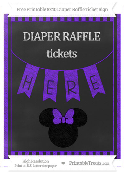 Free Indigo Striped Chalk Style Minnie Mouse 8x10 Diaper Raffle Ticket Sign