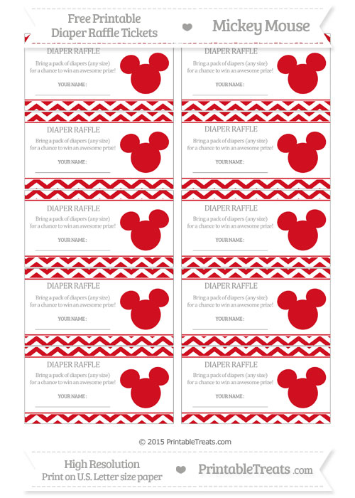 Free Lava Red Chevron Mickey Mouse Theme Diaper Raffle Tickets