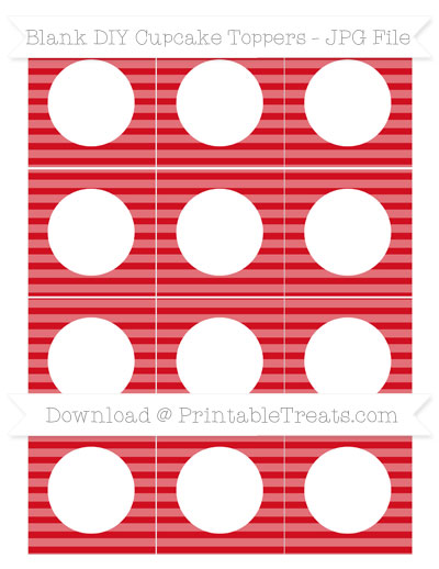 Free Lava Red Horizontal Striped Blank DIY Cupcake Toppers