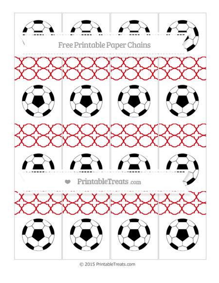Free Lava Red Quatrefoil Pattern Soccer Paper Chains