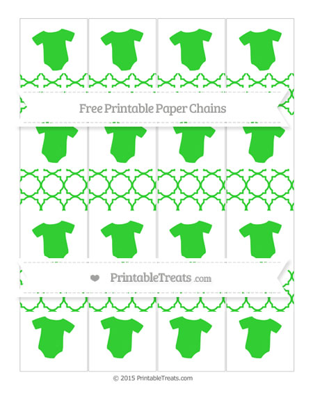 Free Lime Green Quatrefoil Pattern Baby Onesie Paper Chains