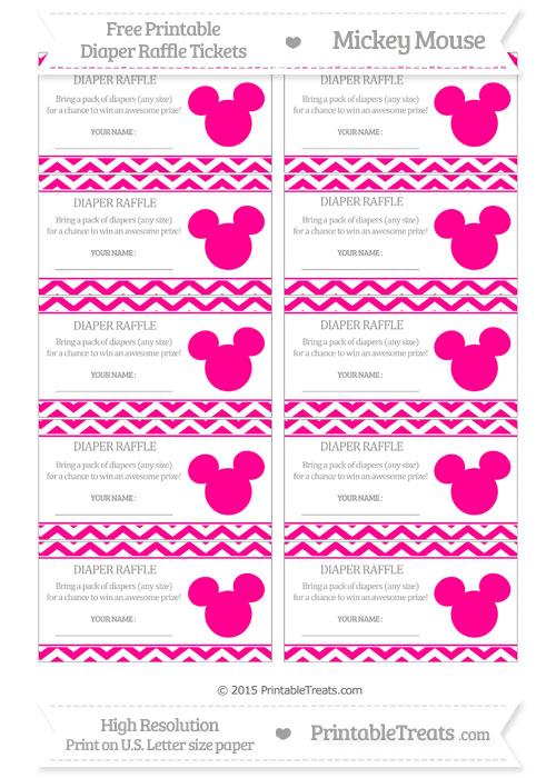 Free Magenta Chevron Mickey Mouse Theme Diaper Raffle Tickets