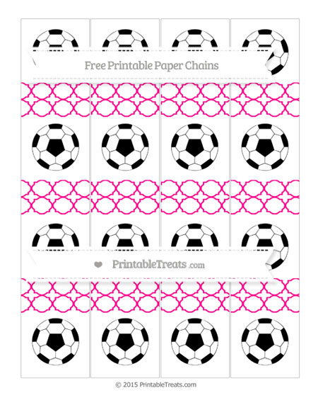 Free Magenta Quatrefoil Pattern Soccer Paper Chains
