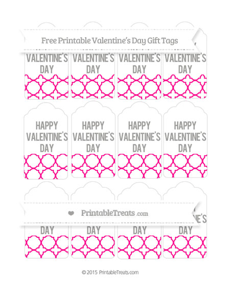Free Magenta Quatrefoil Pattern Valentine's Day Gift Tags