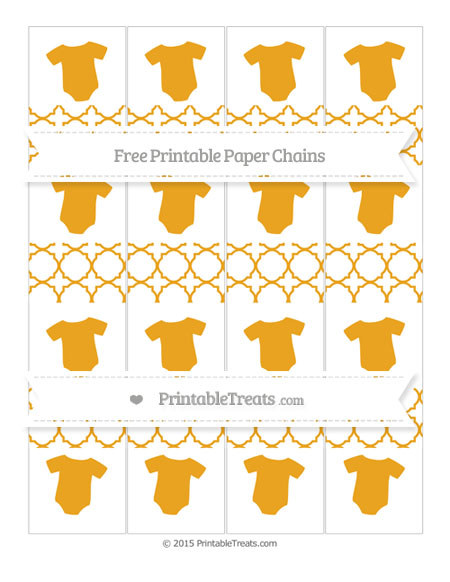 Free Marigold Quatrefoil Pattern Baby Onesie Paper Chains
