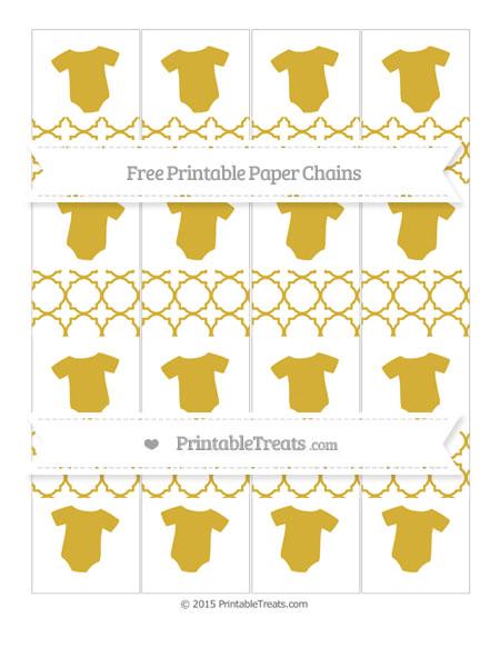 Free Metallic Gold Quatrefoil Pattern Baby Onesie Paper Chains