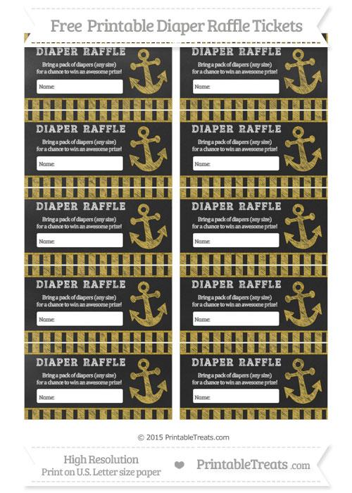 Free Metallic Gold Striped Chalk Style Nautical Diaper Raffle Tickets