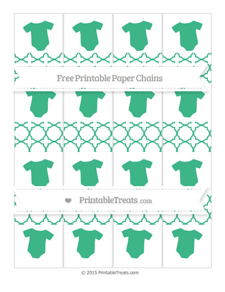 Free Mint Green Quatrefoil Pattern Baby Onesie Paper Chains