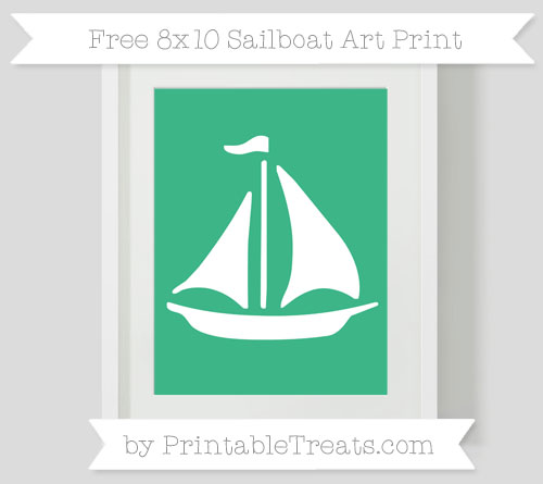 Free Mint Green Sailboat 8x10 Art Print