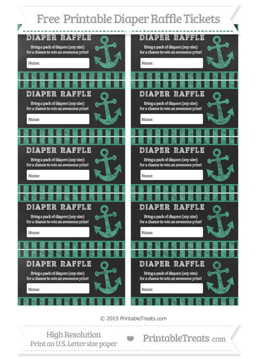 Free Mint Green Striped Chalk Style Nautical Diaper Raffle Tickets